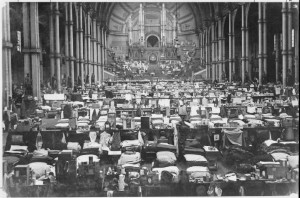 The sleeping quarters in the Great Hall at Alexandra Palace internment camp