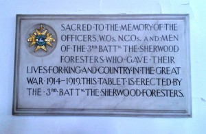 Memorial tablet in Derby Cathedral