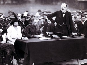Churchill visiting the Enfield Lock Munitions Works, 1915