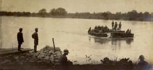 The Faridkot Sappers crossing the Rufiji River at Kiperio, 1917. Image reproduced courtesy of Richard Sneyd.