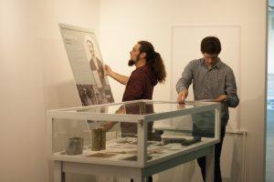Dr Tudor Georgescu installing exhibition.